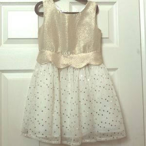 Little girls gold and white sequined dress